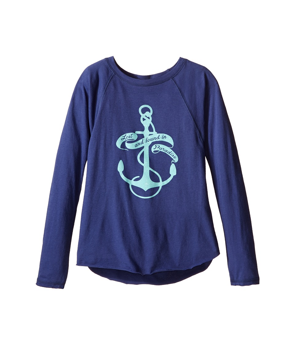 Billabong Kids Found In Paradise Long Sleeve Raglan Tee Little Kids/Big Kids Blue Cruz Girls Long Sleeve Pullover