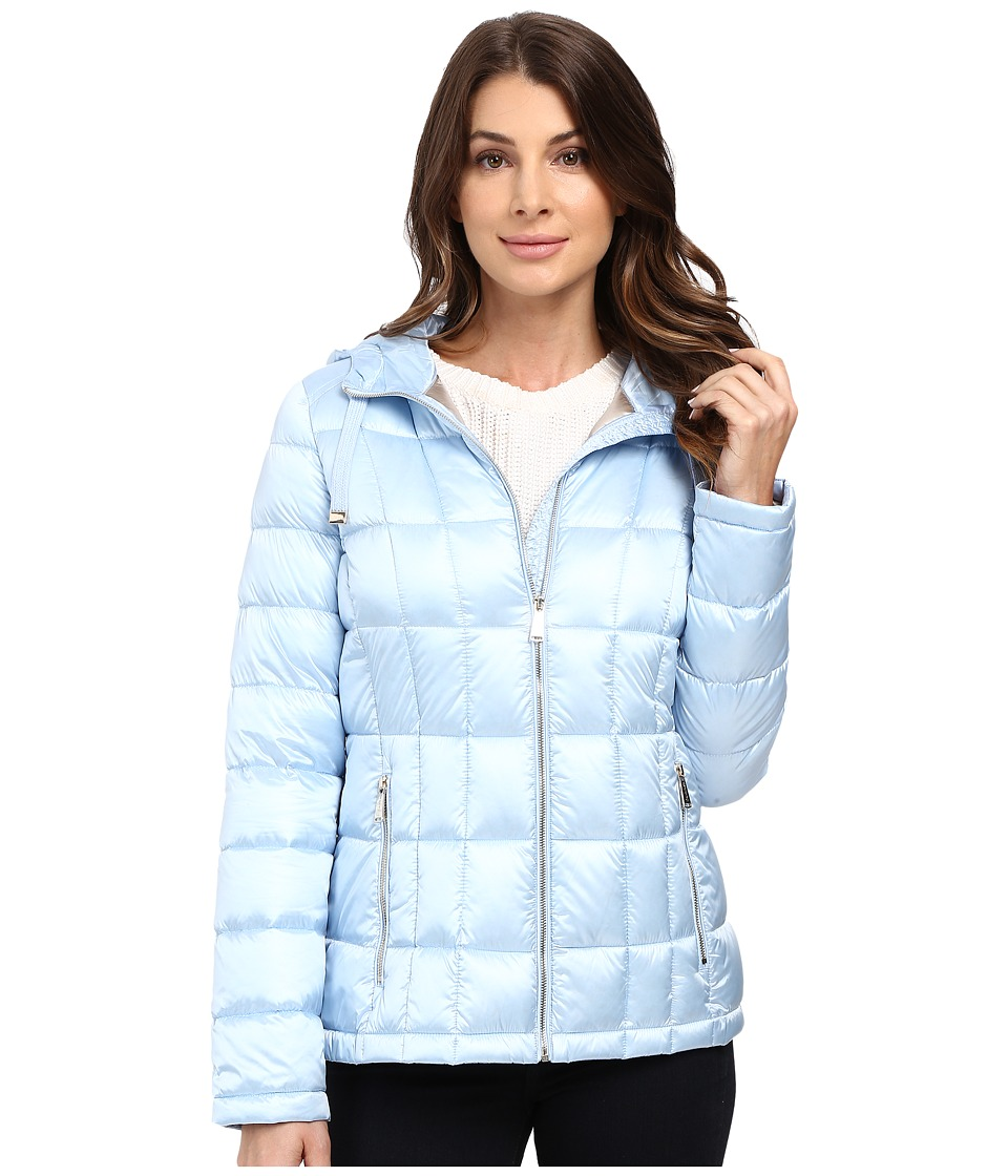 Calvin Klein - Short Hooded Lightweight Packable Down (Pearlized Light Blue) Women