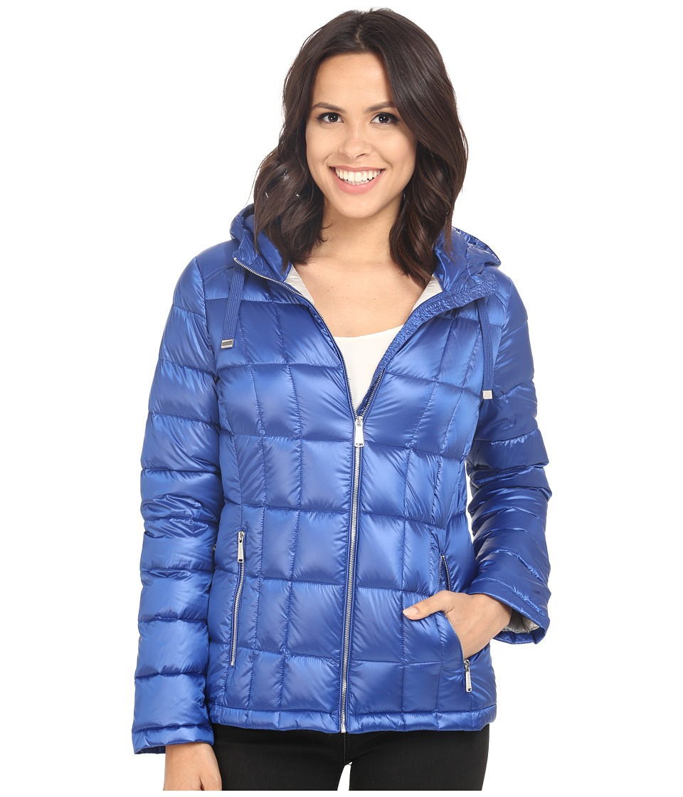 Calvin Klein - Short Hooded Lightweight Packable Down (Pearlized Royal Blue) Women