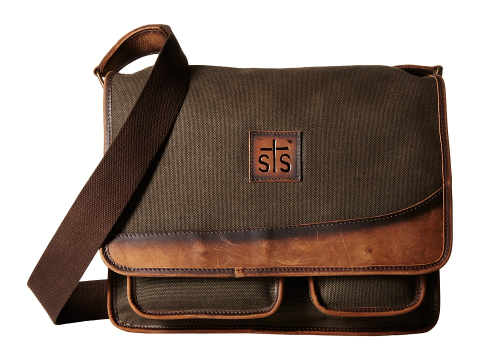 STS Ranchwear - The Foreman Messenger (Dark Khaki Canvas/Leather) Messenger Bags