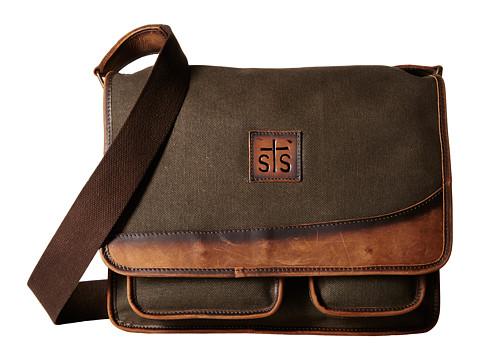 STS Ranchwear The Foreman Messenger - Dark Khaki Canvas/Leather