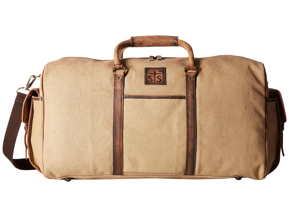 STS Ranchwear The Foreman Duffel Bag (Light Khaki Canvas/Leather) Duffel Bags