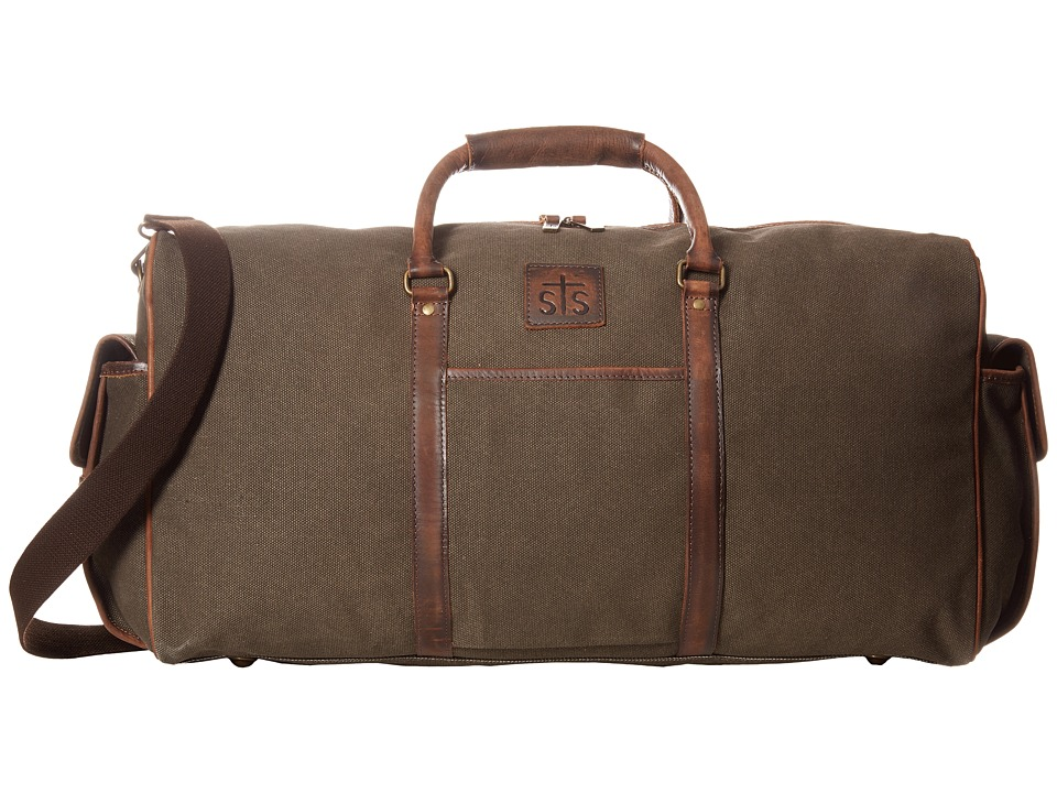STS Ranchwear - The Foreman Duffel Bag (Dark Khaki Canvas/Leather) Duffel Bags