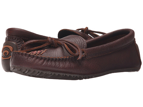 Manitobah Mukluks Canoe Moccasin Grain Leather - Cocoa