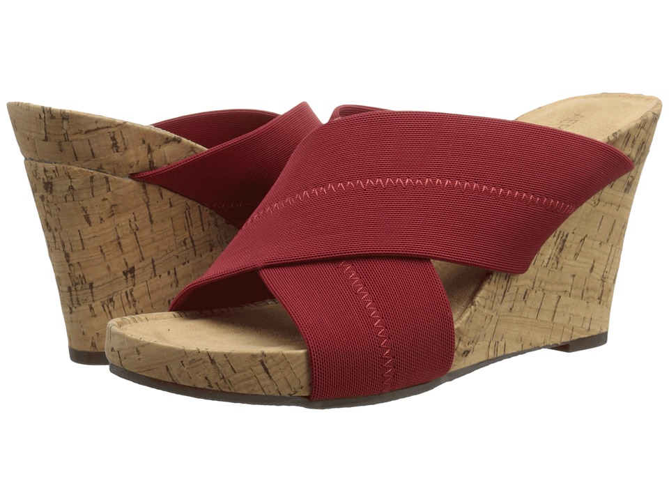 Aerosoles Party Plush Red Fabric Womens Wedge Shoes