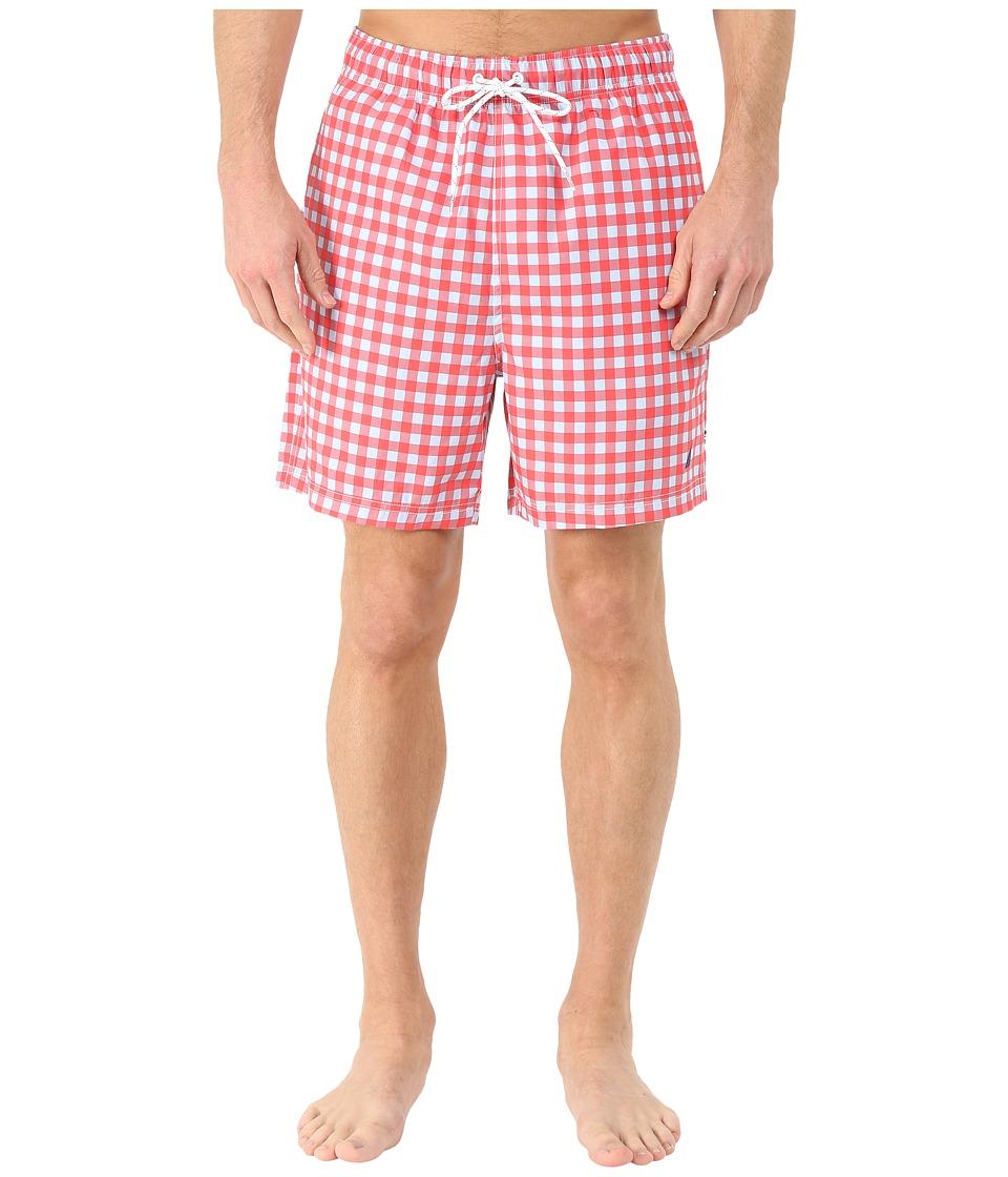 Nautica Gingham Print Trunk Light Mars Red Mens Swimwear