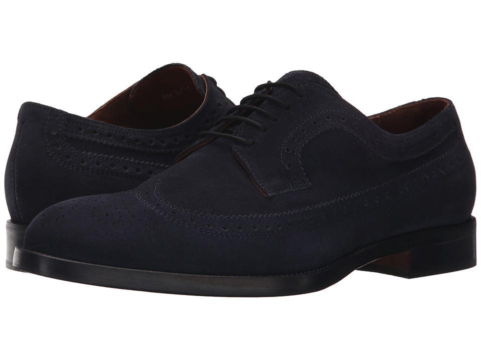 Kenneth Cole New York Org Anized Navy Mens Lace Up Wing Tip Shoes