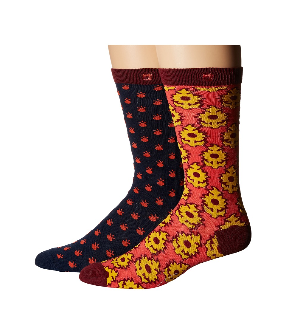 Scotch amp Soda 2 Pack Classic Socks in Colorful Pattern Navy/Red Mens Crew Cut Socks Shoes