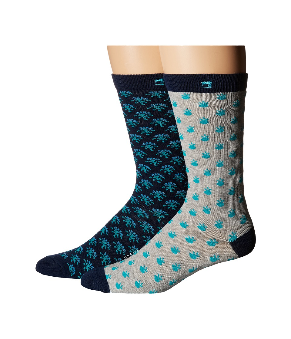 Scotch amp Soda 2 Pack Classic Socks in Colorful Pattern Navy/Teal Mens Crew Cut Socks Shoes