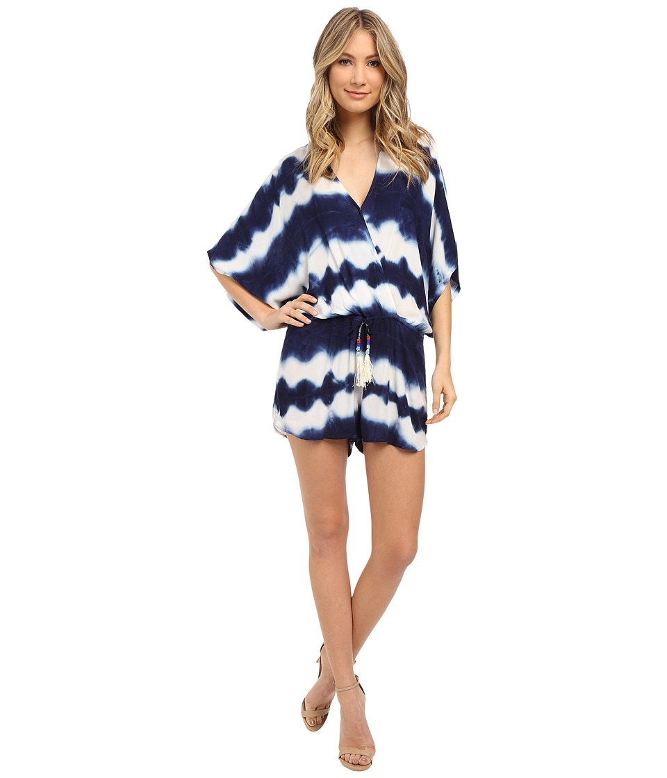 Young Fabulous amp Broke Ashley Romper Navy Shibori Stripe Wash Womens Jumpsuit Rompers One Piece