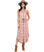 BB Dakota - Lance Rayon Buffalo Plaid Button Front Maxi Dress