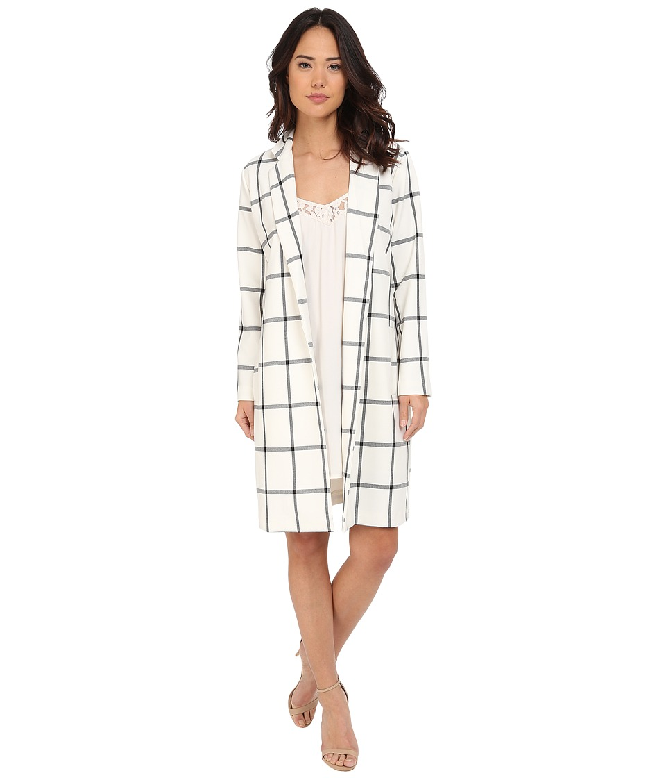 BB Dakota Bronson Plaid Blazer Coat Dirty White Womens Coat