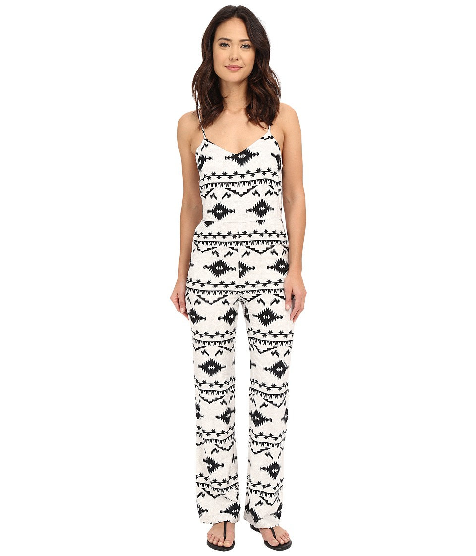 BB Dakota Daphne Symbol Printed Heavy Rayon Bell Bottom Jumpsuit Oatmeal Womens Jumpsuit Rompers One Piece