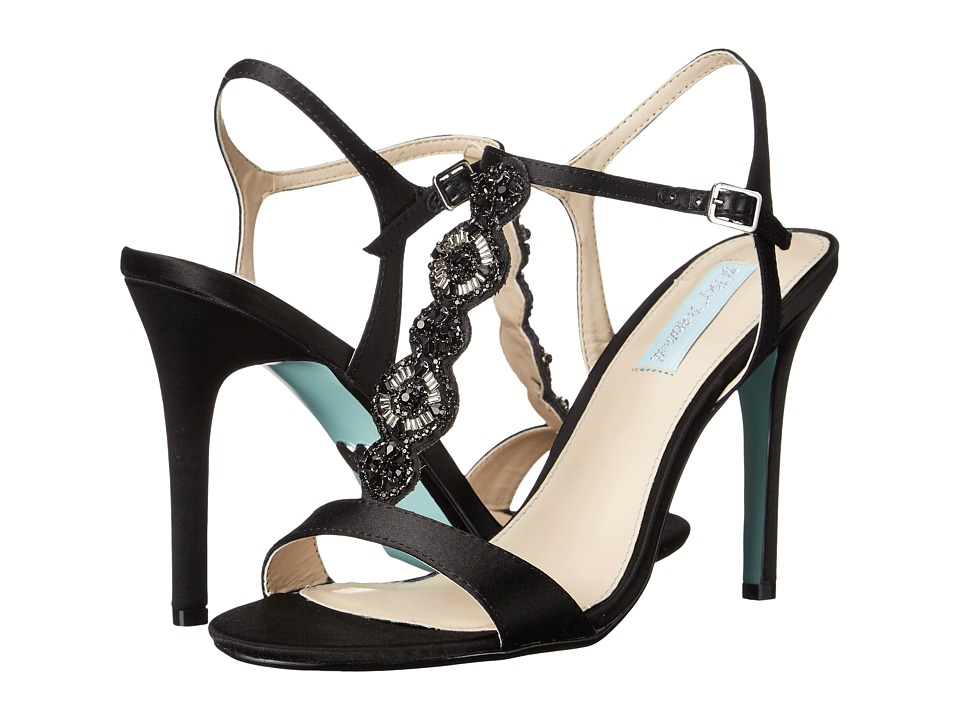 Blue by Betsey Johnson Chloe Black Satin High Heels