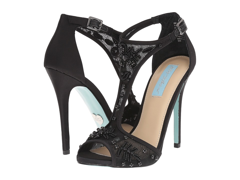 Blue by Betsey Johnson Holly Black Satin High Heels