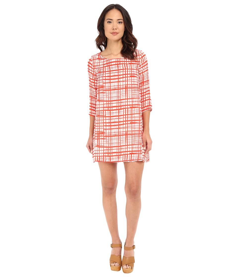 BB Dakota Corela Abstract Plaid Printed Reverse Crepon Siracha Womens Dress