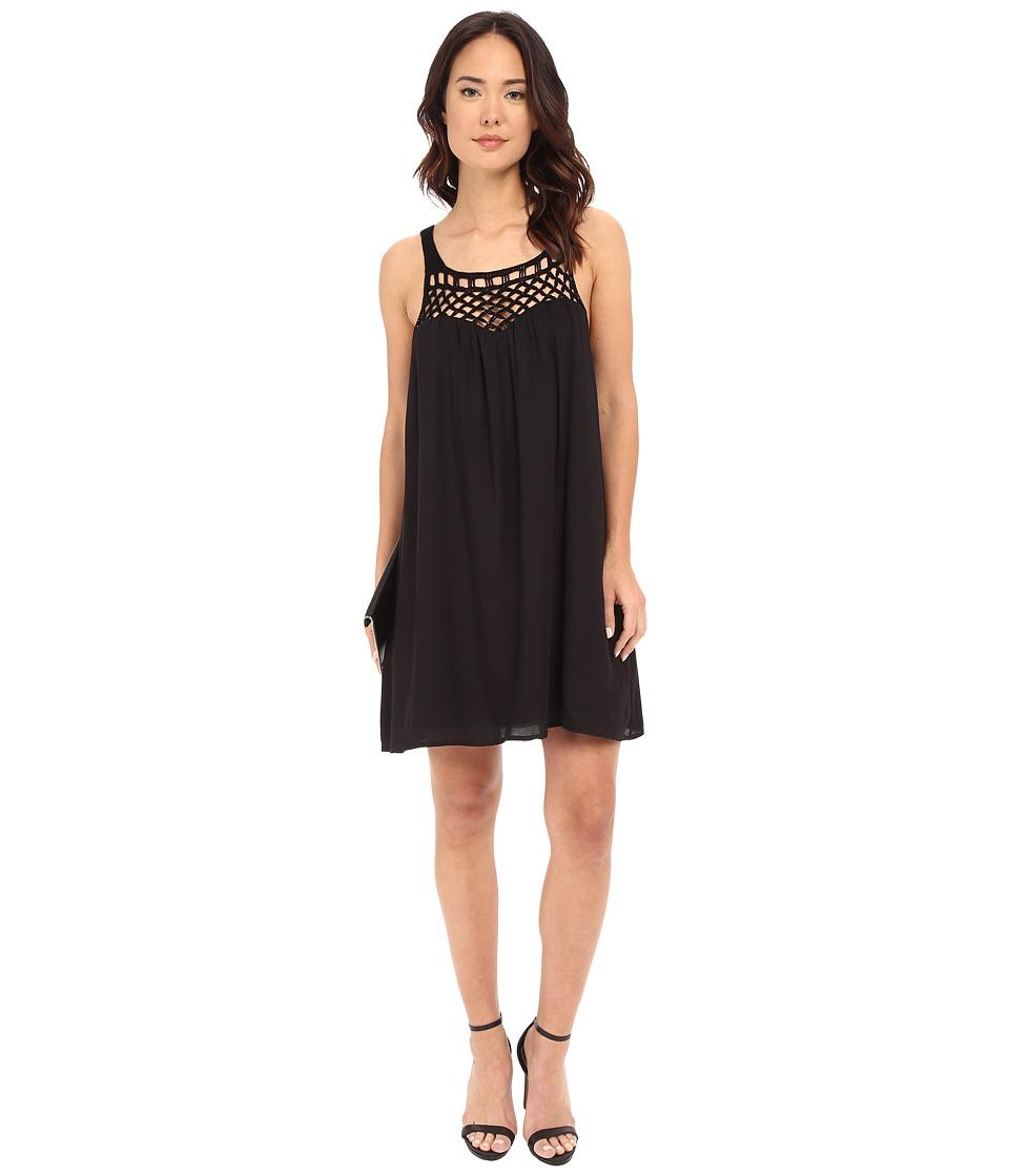 BB Dakota May Crochet Yoke Rayon Dress Black Womens Dress