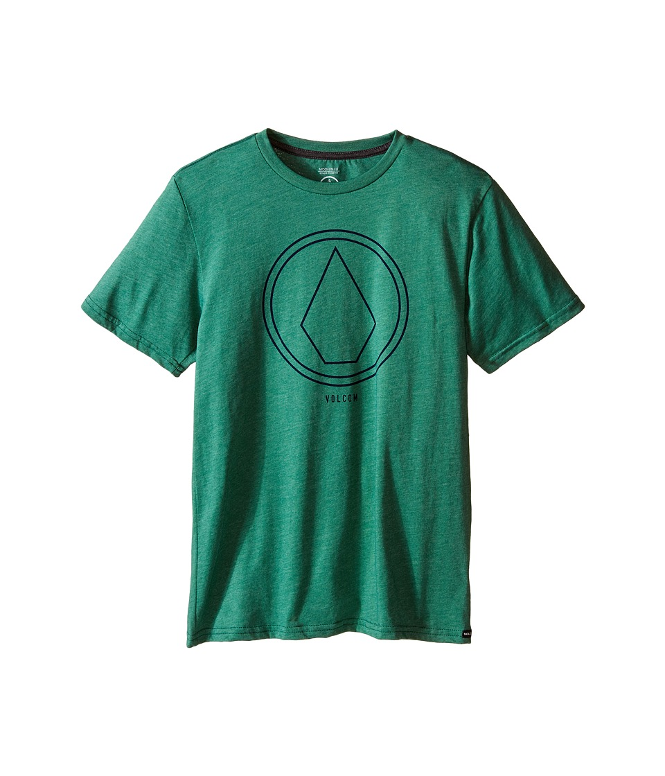 Volcom Kids Pin Line Stone Short Sleeve Shirt Big Kids Bottle Green Heather Boys T Shirt