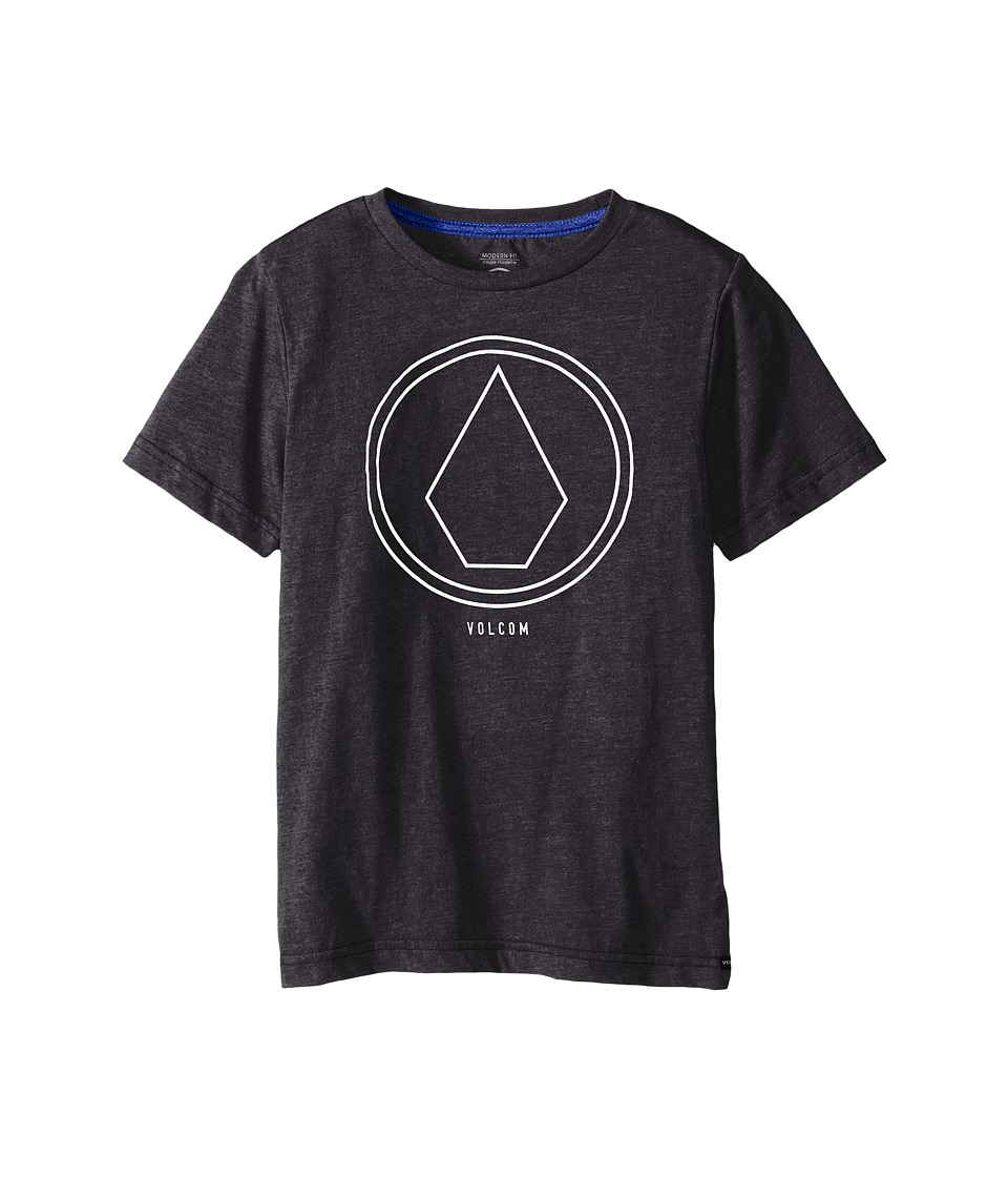 Volcom Kids - Pin Line Stone Short Sleeve Shirt (Big Kids) (Heather Black) Boy