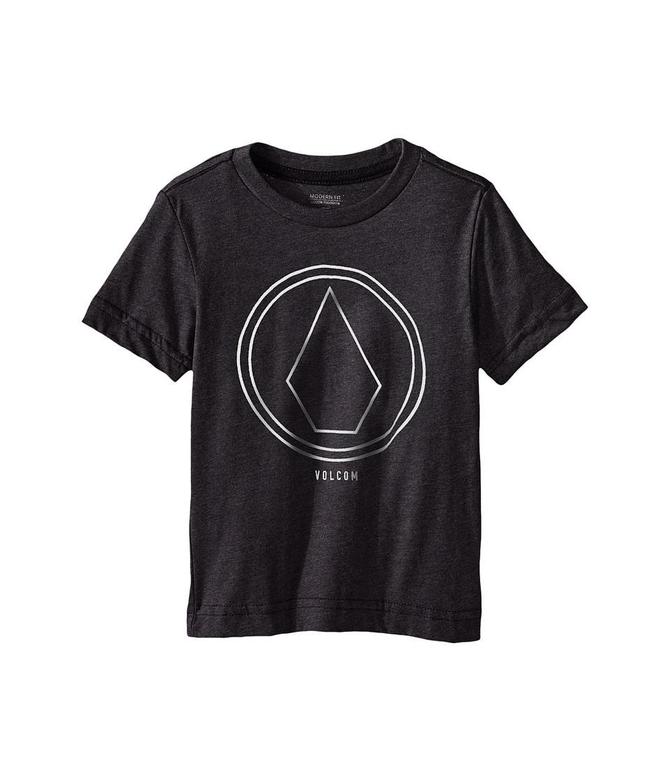 Volcom Kids Pin Line Stone Short Sleeve Shirt Toddler/Little Kids Heather Black Boys T Shirt
