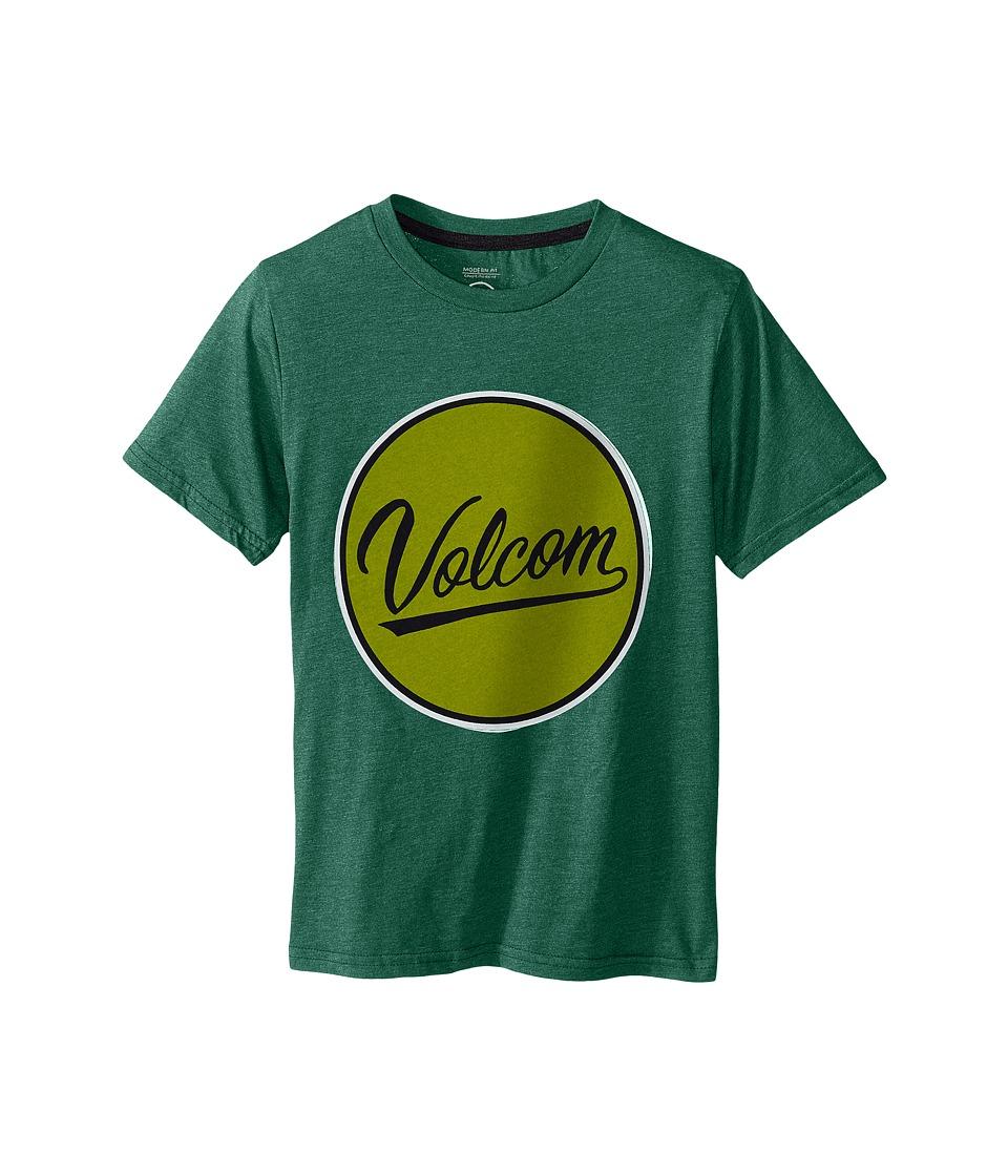 Volcom Kids Germ Script Short Sleeve Shirt Big Kids Bottle Green Heather Boys T Shirt