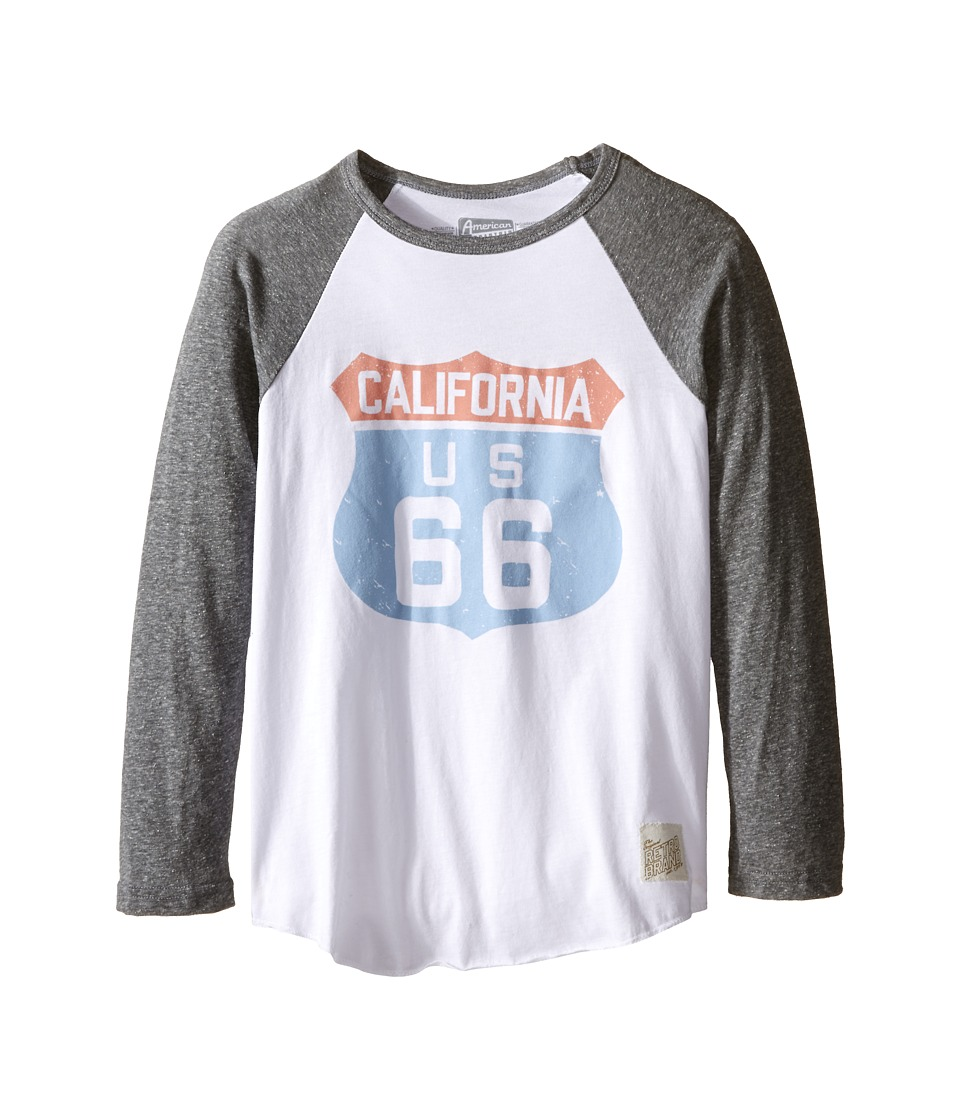 The Original Retro Brand Kids - Cali 66 Long Sleeve Baseball Cali 66 Raglan (Big Kids) (White/Streaky Grey) Boys T Shirt