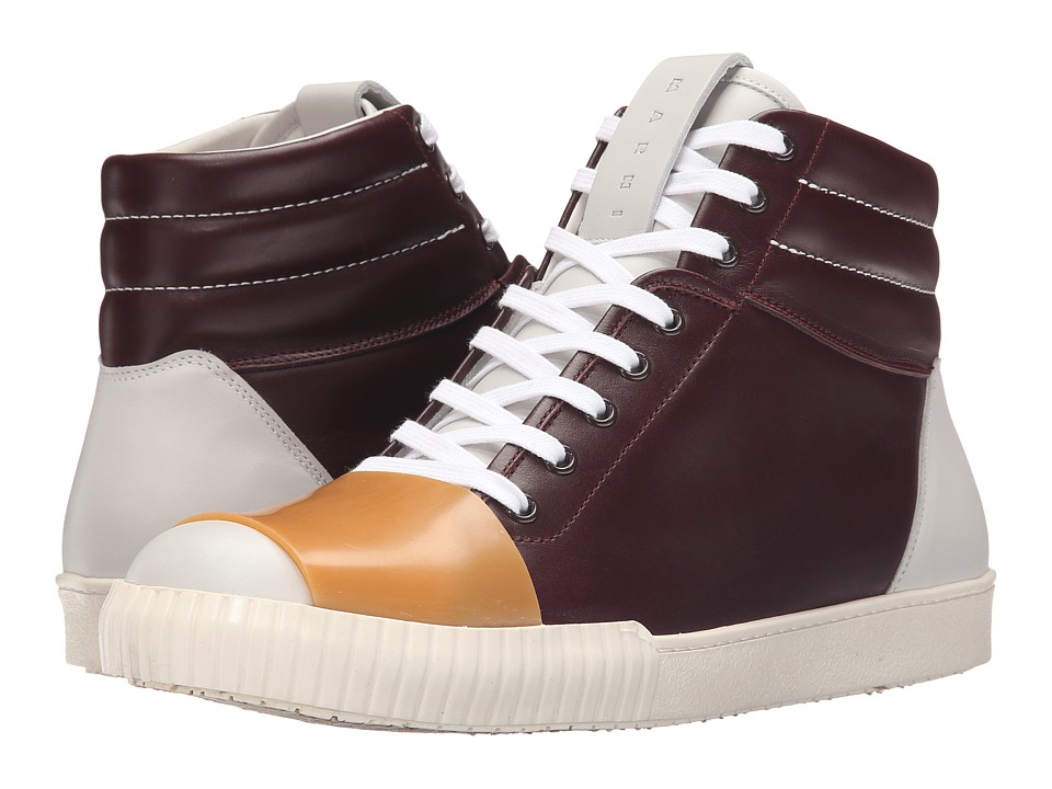 MARNI High Top Leather Sneaker Bordeaux Mens Shoes