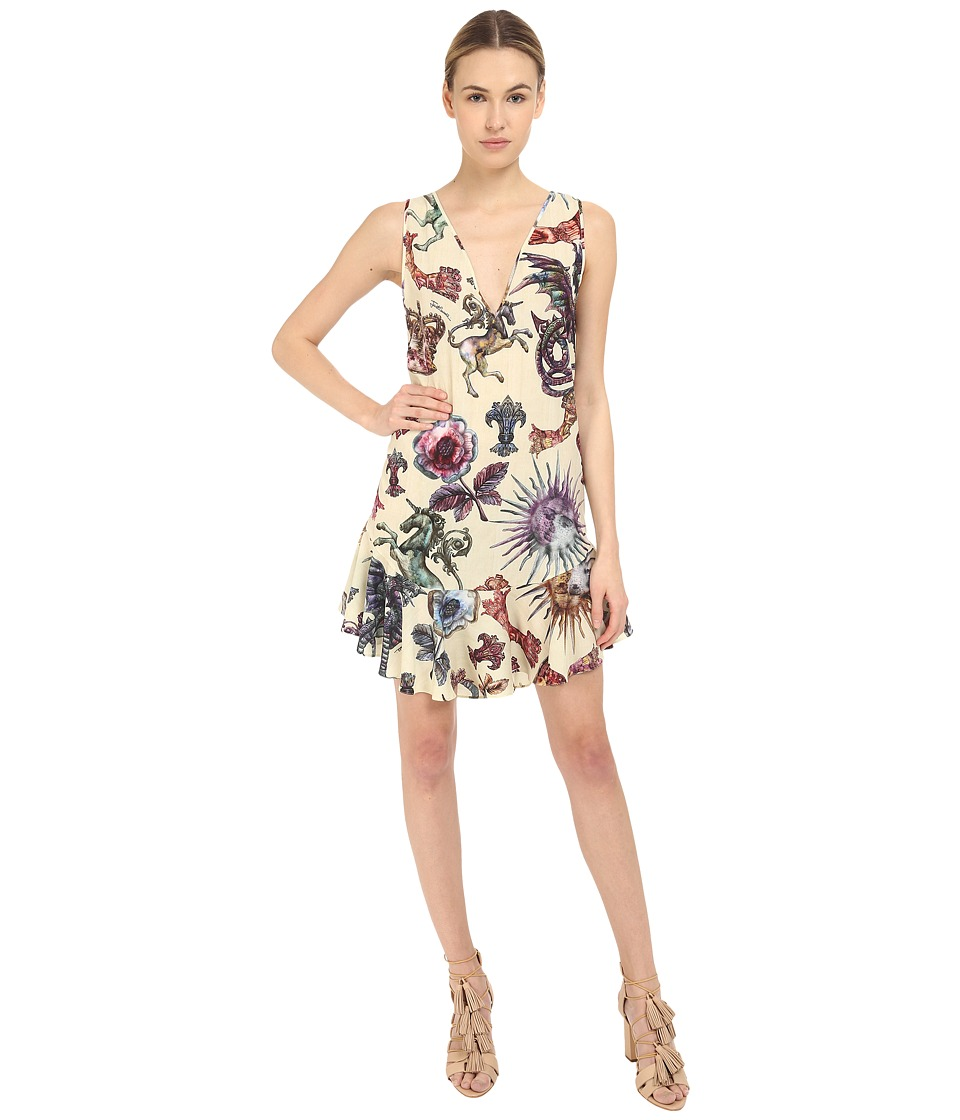 Just Cavalli Love Royal Printed V Neck Dress Dusty Violet Womens Dress