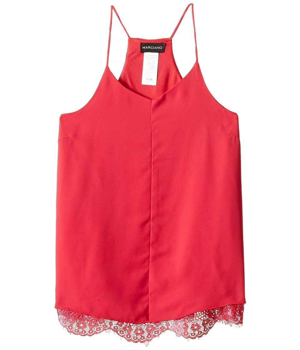 Marciano Kids Cami w/ Lace Trims Big Kids Hot Pink Girls Sleeveless