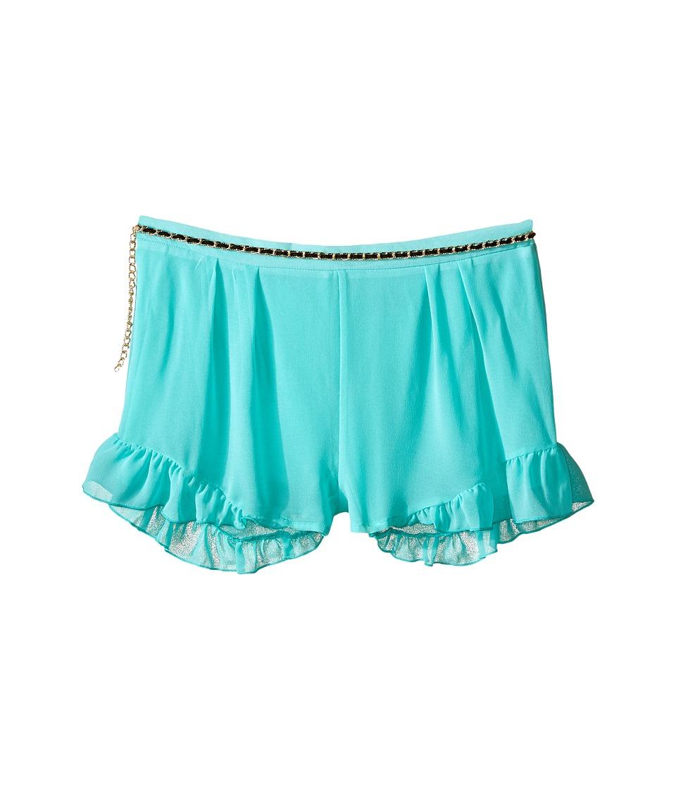 Marciano Kids Printed Chiffon Shorts w/ Belt Big Kids Aqua Girls Shorts