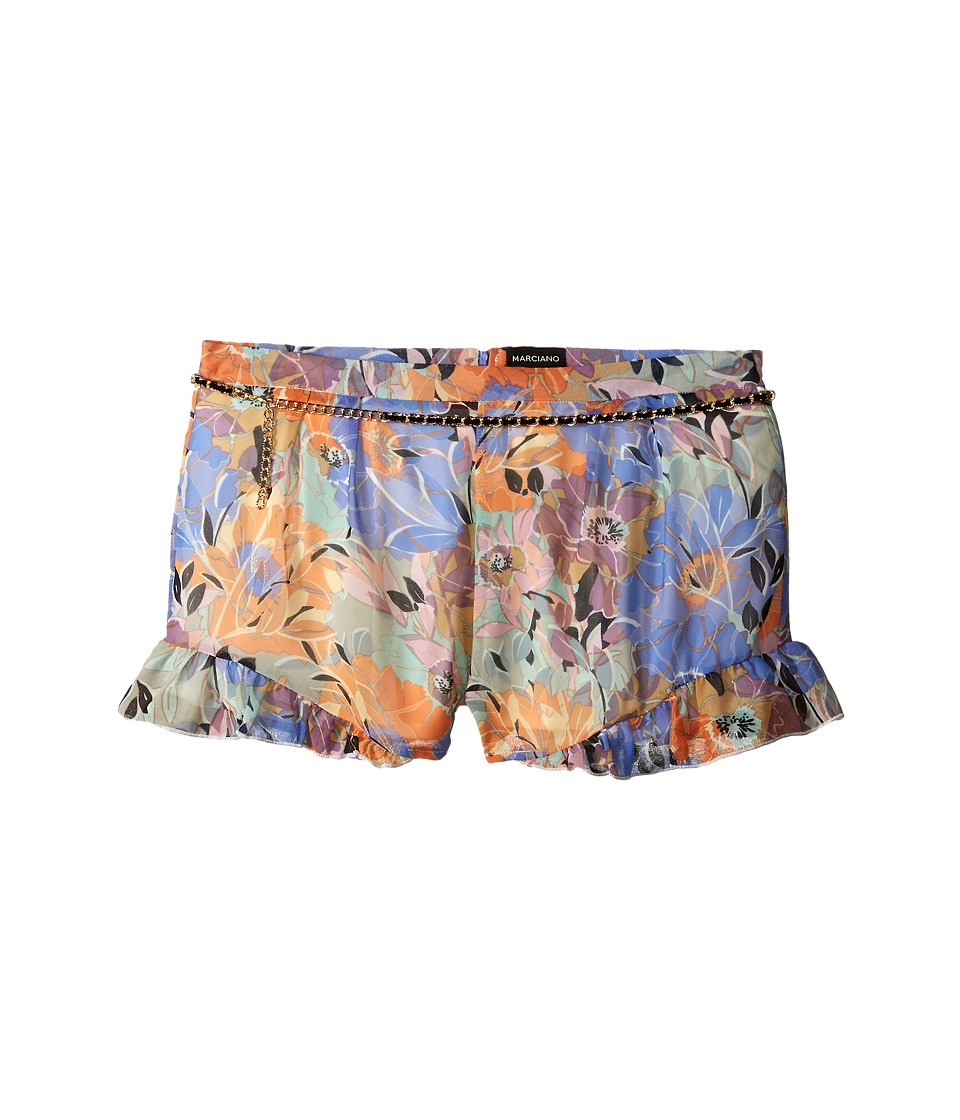 Marciano Kids Printed Chiffon Shorts w/ Belt Big Kids Print Girls Shorts