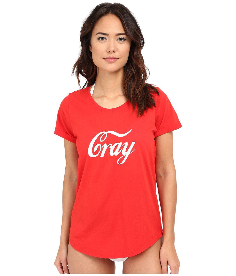 Beach Riot Tees Cray Tee Cover Up Red Womens Swimwear