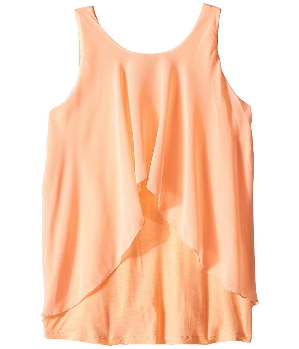 Marciano Kids Casey Layer Gorgette Top Big Kids Peach Girls Sleeveless