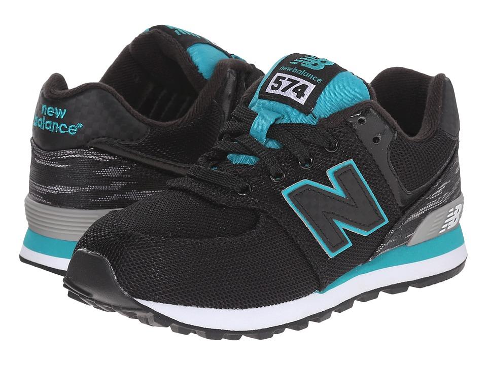 New Balance Kids Summer Waves 574 Little Kid Black/Green Boys Shoes