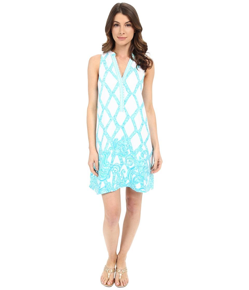 Lilly Pulitzer Anne Dress Resort White Turtle Cove Engineered Womens Dress