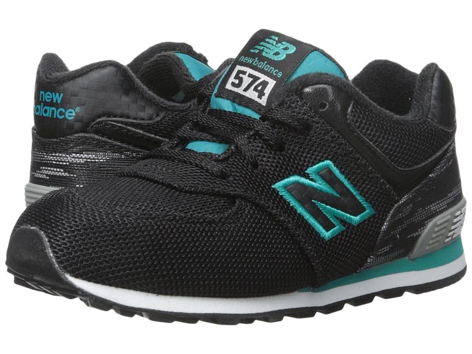 New Balance Kids Summer Waves 574 Infant/Toddler Black/Green Girls Shoes