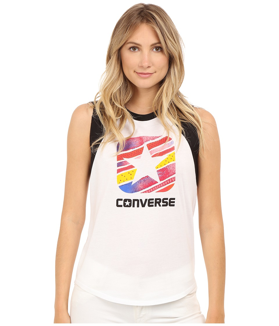 Converse Box Star Sleeveless Raglan Tee White/Black Womens Sleeveless