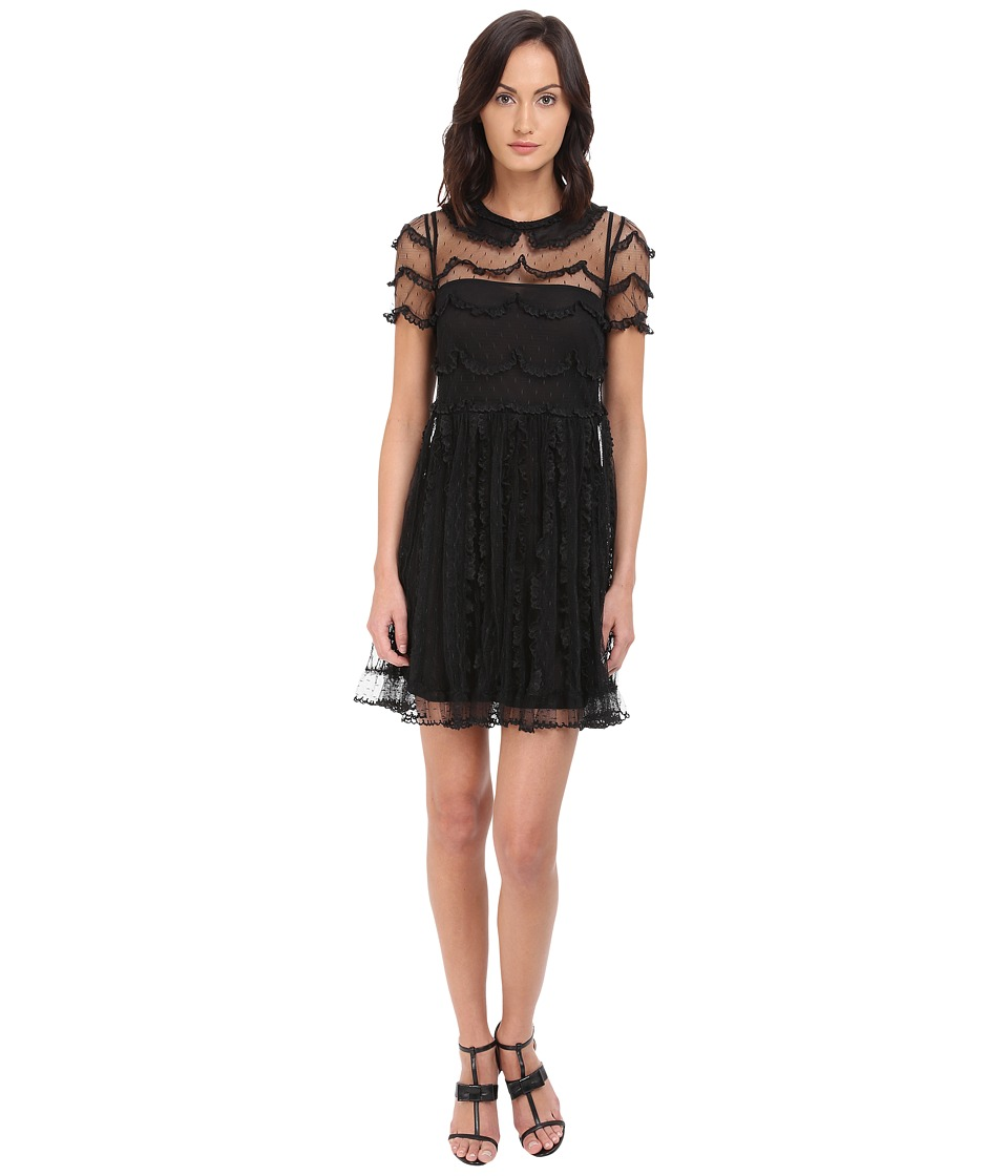 RED VALENTINO C.Abito Ric.Cappette A Festone Su P.DE Dress Nero Womens Dress