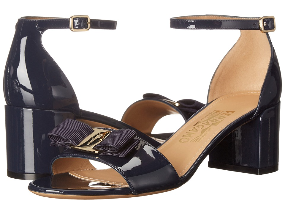 Salvatore Ferragamo Suede Block Sandal (Oxford Blue Patent) High Heels