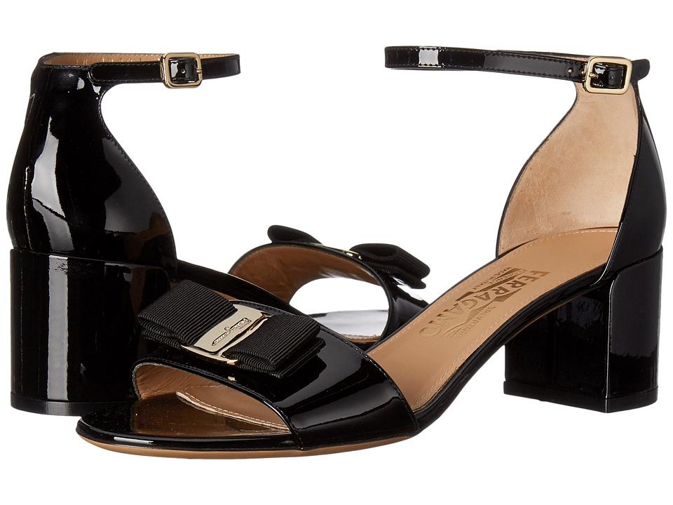 Salvatore Ferragamo Suede Block Sandal (Nero Patent) High Heels