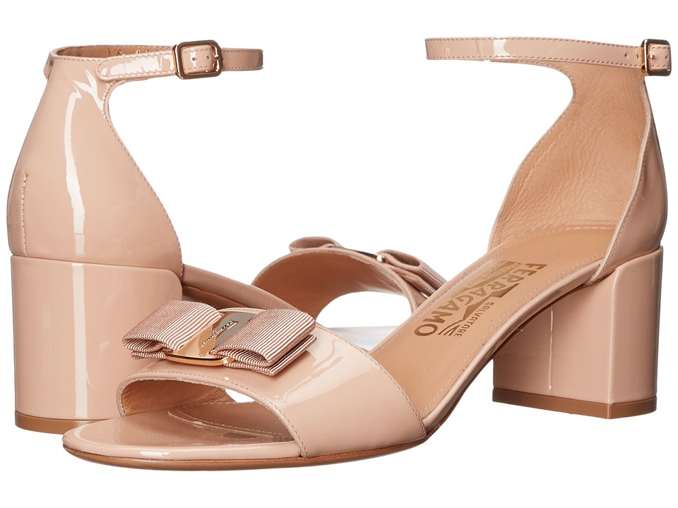 Salvatore Ferragamo Suede Block Sandal (New Bisque Patent) High Heels