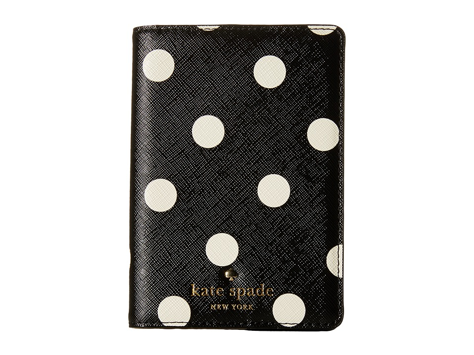 Kate Spade New York Cedar Street Dot Passport Holder Black/Clotted Cream Wallet