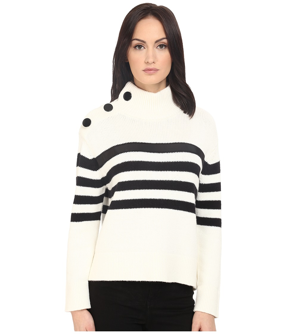 Kate Spade New York Stripe Chunky Mock Neck Sweater Cream/Black Womens Sweater