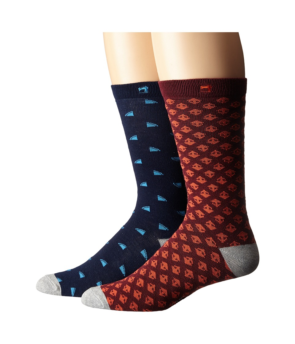 Scotch amp Soda 2 Pack Classic Socks in Fun Pattern Navy/Red Mens Crew Cut Socks Shoes