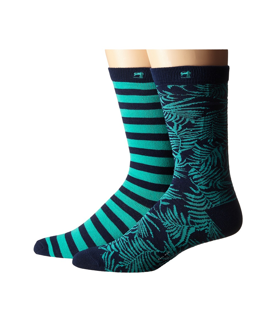 Scotch amp Soda 2 Pack Classic Socks in Fun Pattern Teal/Navy Mens Crew Cut Socks Shoes