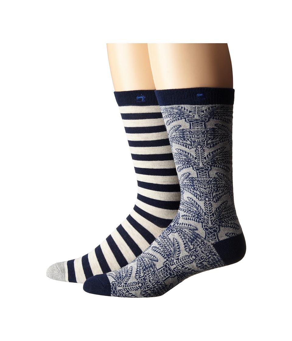Scotch amp Soda 2 Pack Classic Socks in Fun Pattern Grey/Navy Mens Crew Cut Socks Shoes