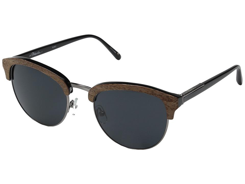 3.1 Phillip Lim PL95C3SUN Blonde Wood/Black/Aqua Mirror Fashion Sunglasses