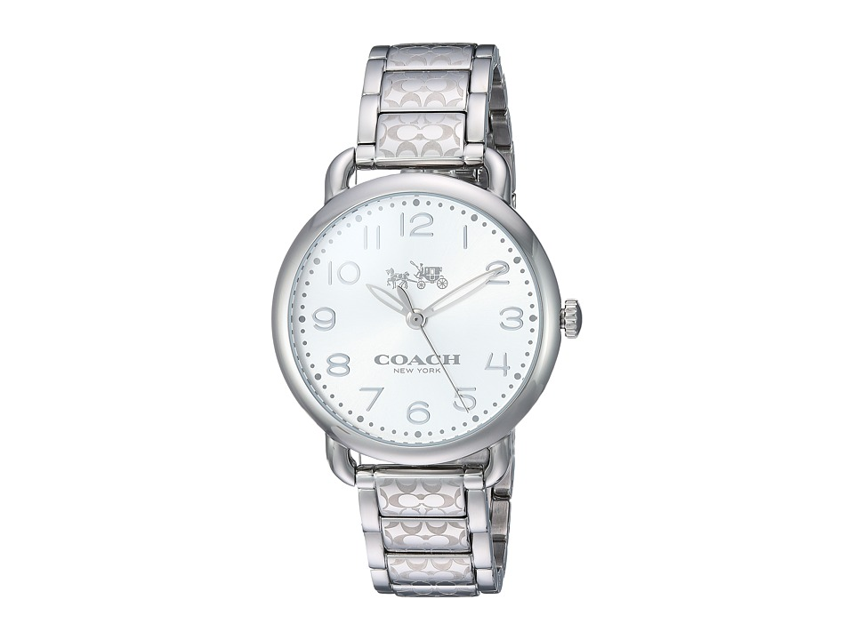 COACH - Delancey 36mm Etched Bracelet Watch (White Sunray/Stainless Steel) Watches