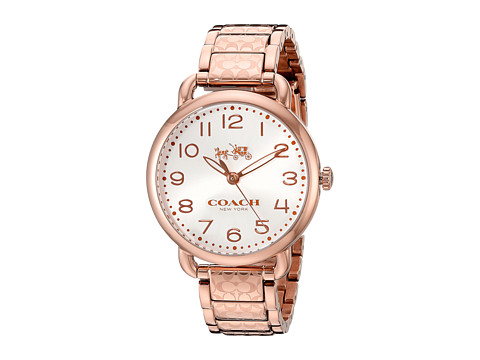 COACH Delancey 36mm Etched Bracelet Watch - White Sunray/Rose Gold