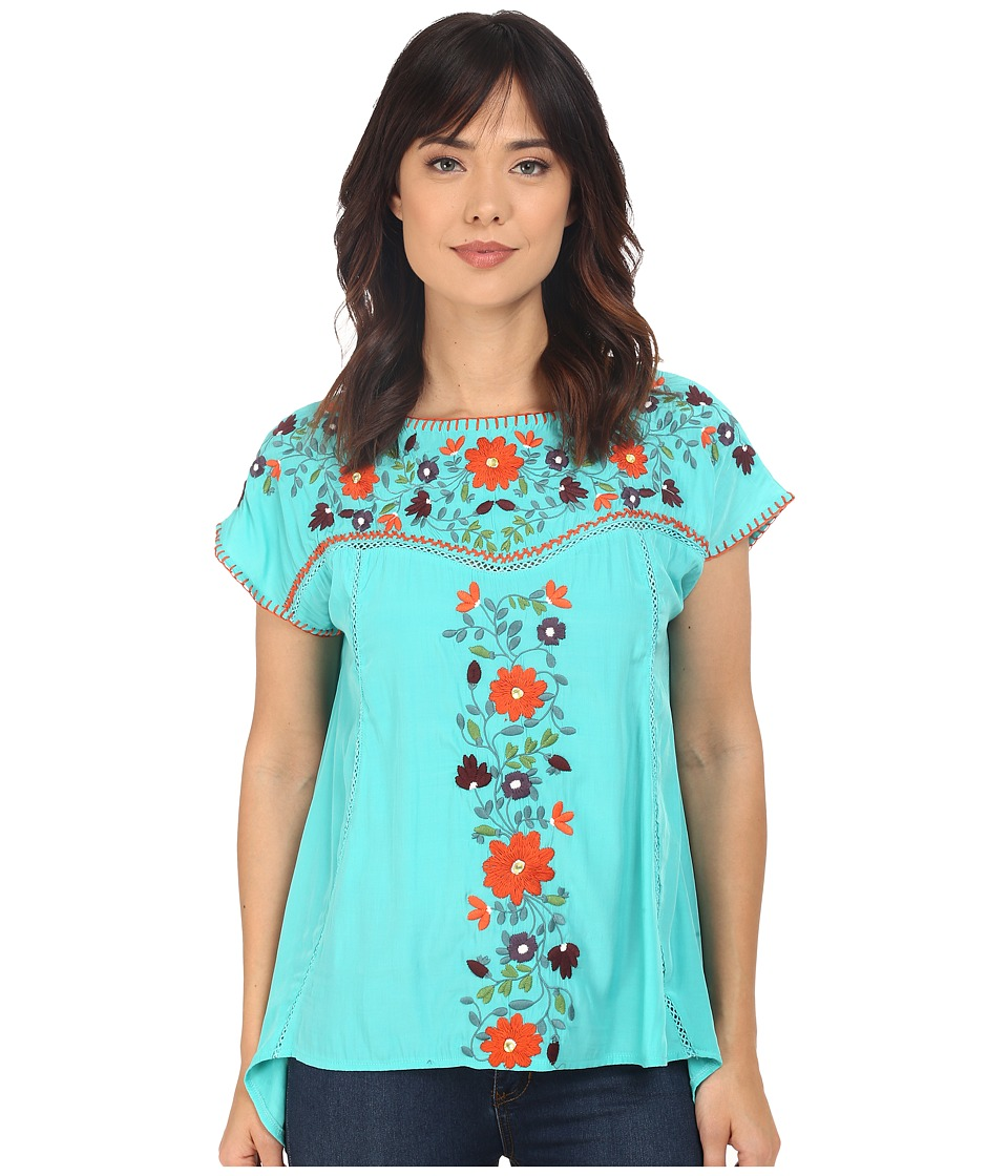 Double D Ranchwear Mercado Top Turquesa Womens Blouse